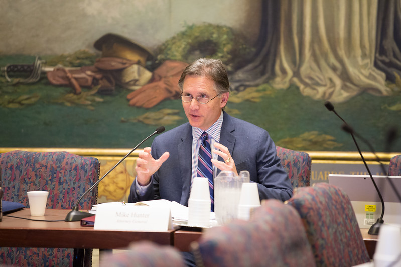 Mike Hunter, Attorney General for the State of Oklahoma, during his office's Commision on Opioids meeting at the Oklahoma State Capitol.