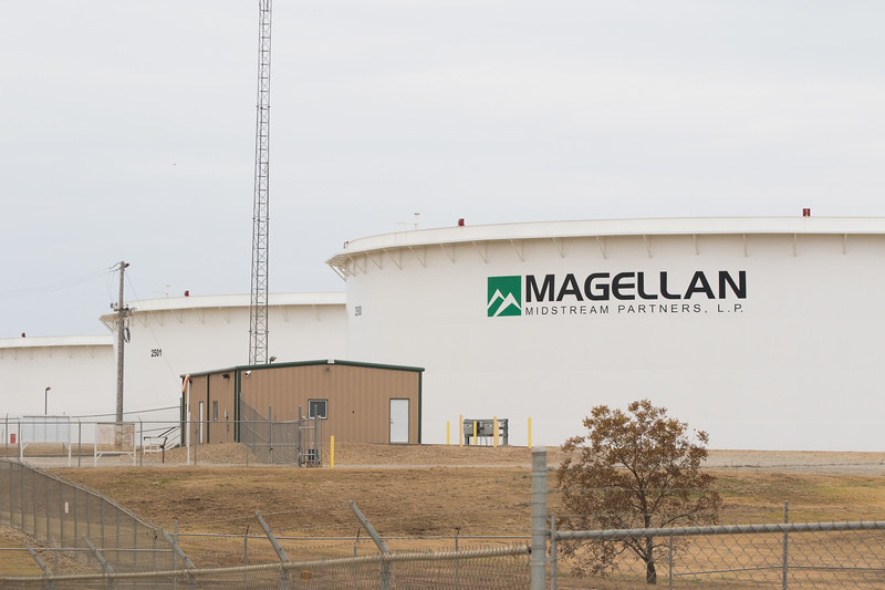 A crude oil holding tank owned by Magellan Midstream Partners located in Cushing, OK.