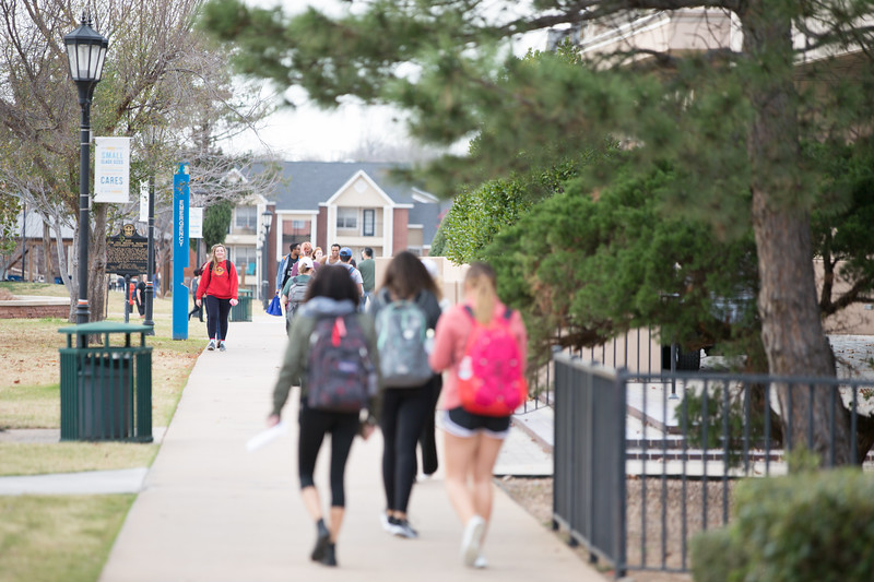 Students on the campus of Oklahoma City University in Oklahoma City.