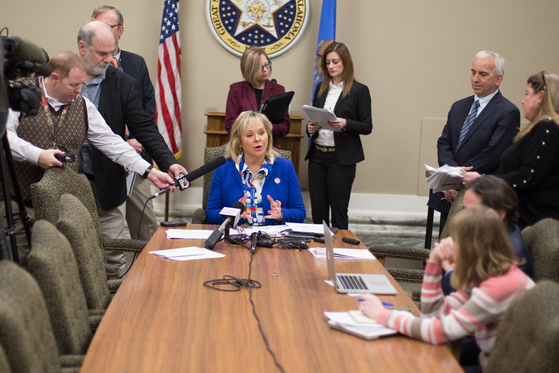 Oklahoma Mary Fallin during a press conferance at the Oklahoma State Capitol.