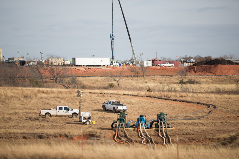 A hyrdrolic fracturing well under construction near Blanchard, OK.