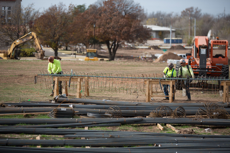 Scissortail Park is under construction on the south side of downtown Oklahoma City along Robinson Ave north of I-44.
