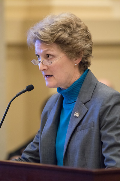Oklahoma State Senator Kay Floyd introduces a bill before a Senate comittee that would reduced prison sentances for elderly inmates.
