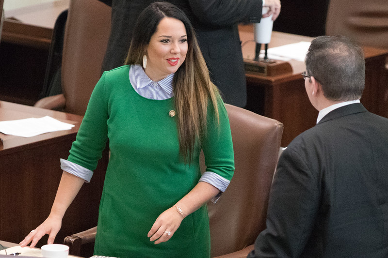 Freshman repersenitive Tess Teague in her first day in office after winning Oklahoma District 101.