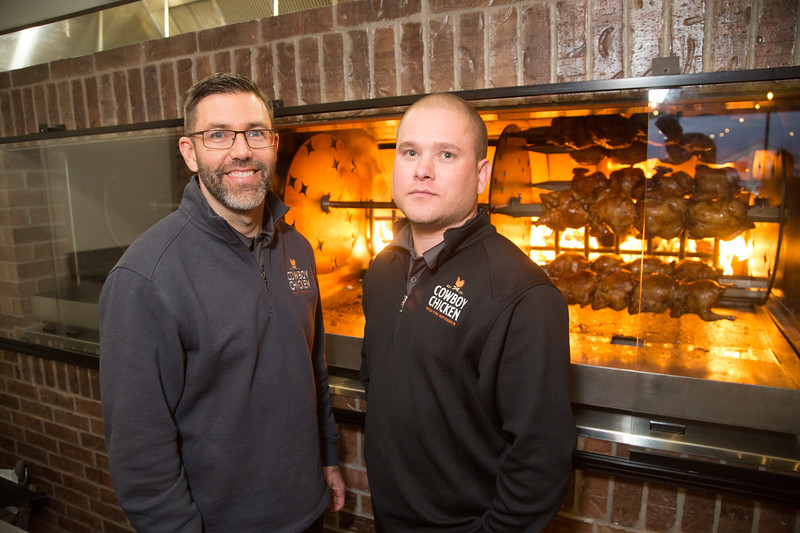 Daniel Kessinger and Cody Trammell, co-owners of Cowboy Chicken opening February 6th located at 13801 N Pennsylvania Ave. in Oklahoma City, OK.