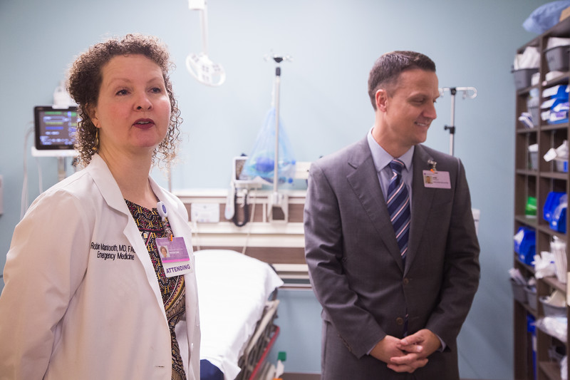 Emergency Department director Dr. Rene Mantooth and John Manfredo  show off some new LEAN characteristics of the new Emergency Department at Norman Reginal Hospital in Moore, OK.