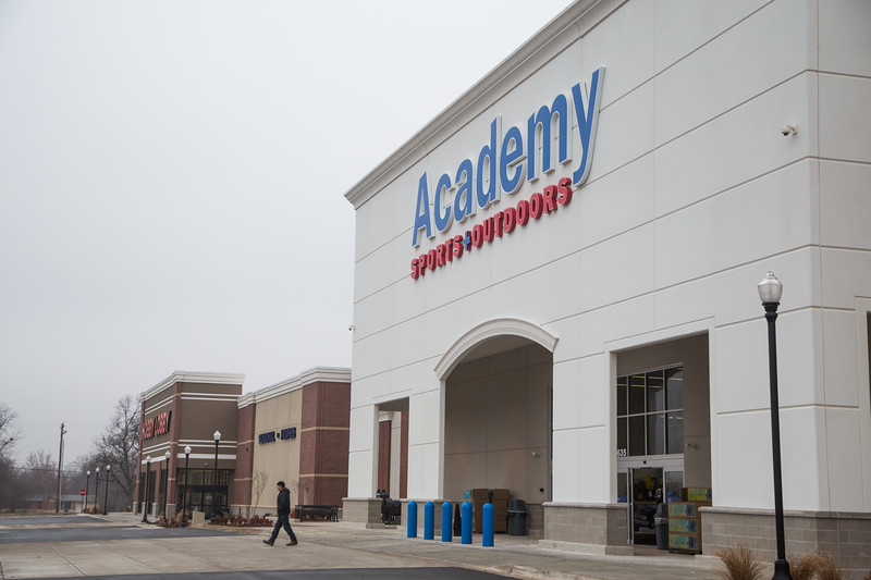 The recently completed Academy Sports and Outdoors and Hobby Lobby at SE 15th Street and Sooner Ave in Oklahoma City, OK.