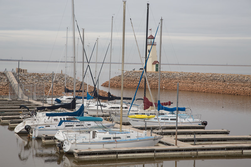 Boats at Lake Hefner in Oklahoma City, OK.