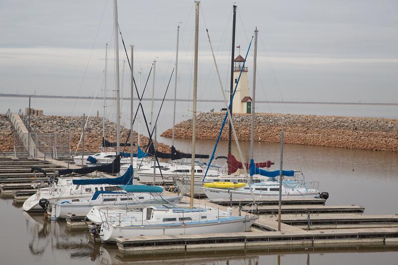 Boats at Lake Hefner in Oklahoma City, OK.