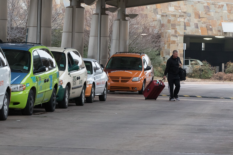 Taxi cabs waiting on fares at Will Rogers World Airport in Oklahoma City.