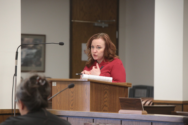 Arnella Karges, Executive Vice President of Oklahoma Oil and Gas Association discussing proposed regulation changes at a technical conferance held at the Oklahoma Corporation Commision.
