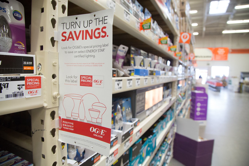 OG&E and PSO is participating in a program to reduce the cost of L.E.D. light bulbs at Home Depot and Lowe's Home Improvement stores in Oklahoma.