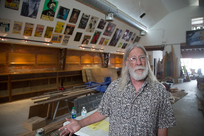 John Dunning, owner of The Trolly Stop Record Shop, at his store's new location at 1212 N Pennsylvania Ave in Oklahoma City, OK.