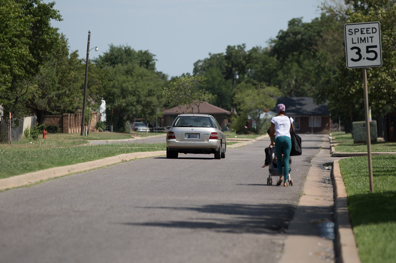 Residents at Reding Senior Center say that poor road conditions and lack of sidewalks along South Douglas Ave make it difficult and unsafe for pedestrian traffic. The facility is located at 1000 SW 38th Street in Oklahoma City.