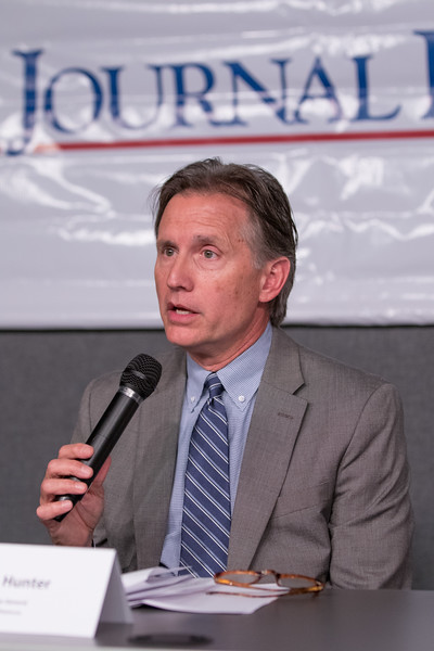 Oklahoma Attorney General Mike Hunter participated in a rountable discusion on the state's opiod addiction crisis at the studio of KOSU Radio located at 726 W Sheridan Ave in Oklahoma City.