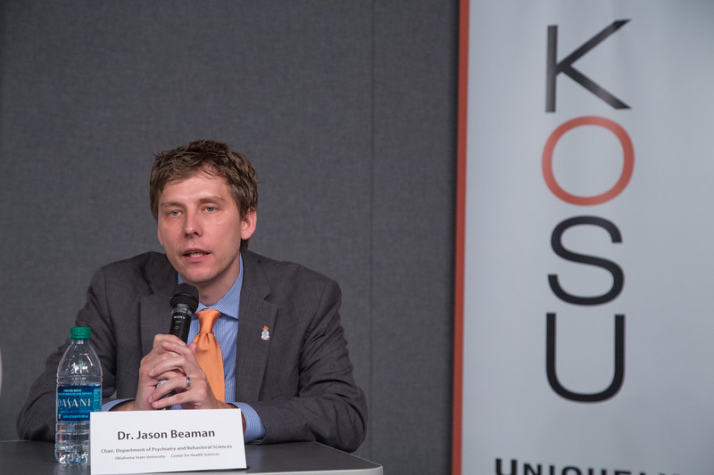 Dr Jason Beaman, Chair of the Department of Psychiatry and Behavioral Sciences at Oklahoma State University Center for Health Sciences in Tulsa, OK, participated in a rountable discusion on the state's opiod addiction crisis at the studio of KOSU Radio located at 726 W Sheridan Ave in Oklahoma City.