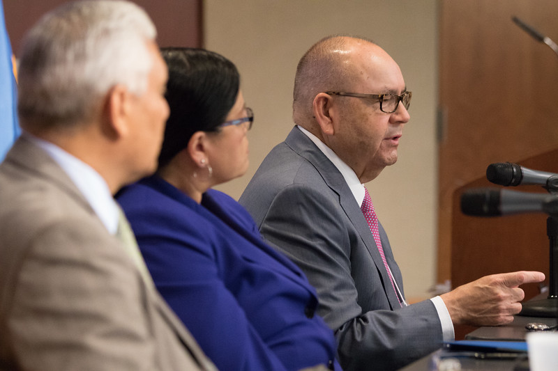 James Floyed, Principal Chief of the Muscogee (Creek) Nation, Terri Parton, President of the Wichita and Affiliated Tribes, and Bill Anoatubby speaking at the Oklahoma Native Assets Coalition.
