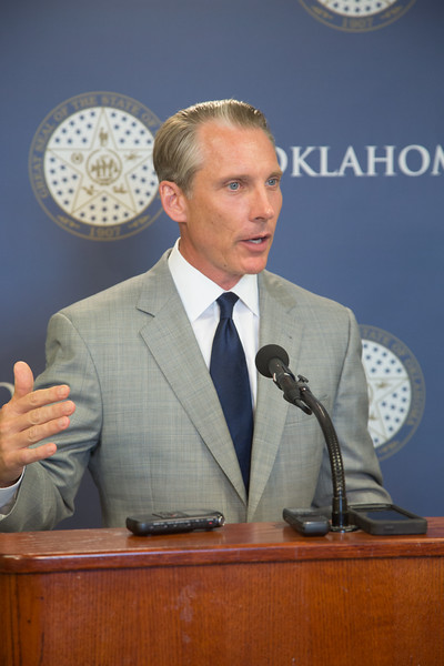 State Treasurer Ken Miller explains the end of Oklahoma's fiscal year during a press breifing at the Oklahoma State Capitol.