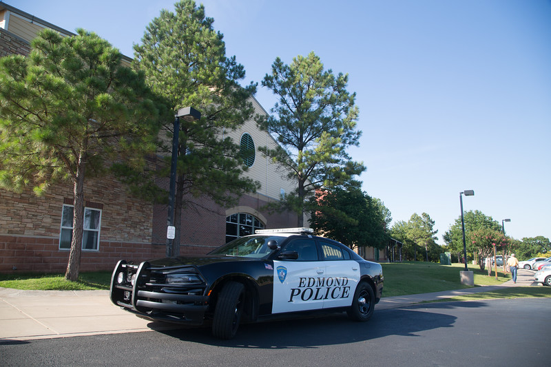 An Edmond patrol car at Henderson Hills Baptist Church located at 1200 E I-35 Frontage Rd in Edmond, OK.