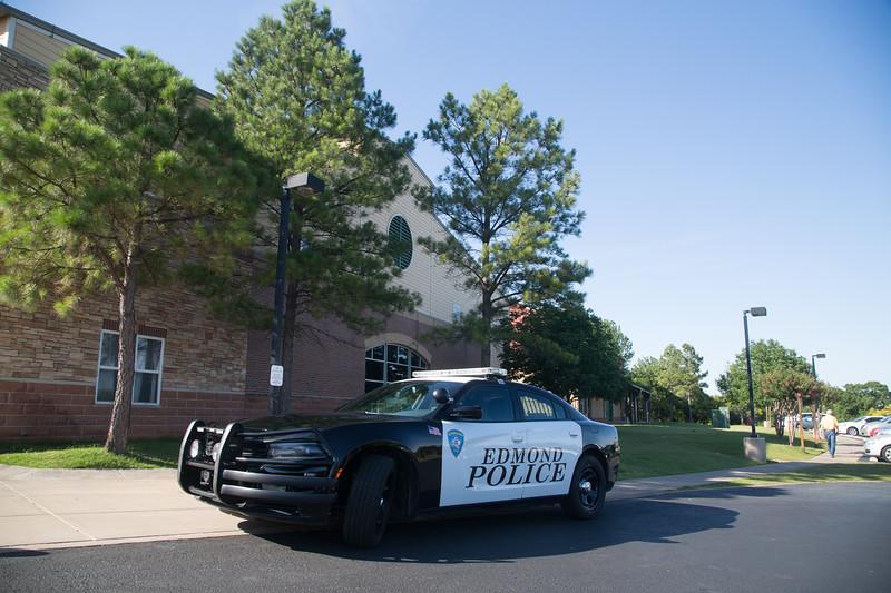An Edmond patrol car at Henderson Hills Baptist Church located at 1200 E I-35 Frontage Rd in Edmond, OK.