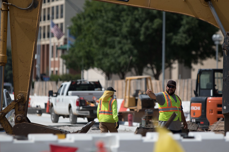 Road construction on EK Gaylord Blvd in downtown Oklahoma City.