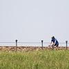 A cyclist riding around Lake Hefner located in northwest Oklahoma CIty, OK.
