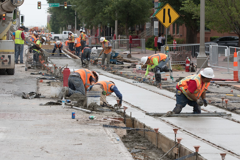 Construction of the new Oklahoma City street car track along Sheridan Ave in Bricktown.