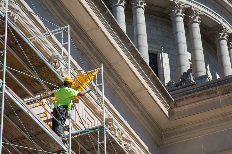 New scaffolding has been constructed over the southern entrance of the Oklahoma State Capitol in Oklahoma City, OK.