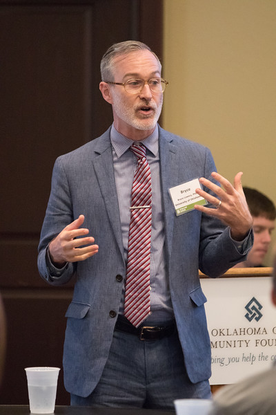 Bryce Lowery, with the University of Oklahoma, speaks about food availability at the Urban Land Institute luncheon held at the Oklahoma CItyCommunity foundation located at 1000 N Broadway Ave. in Oklahoma CIty.