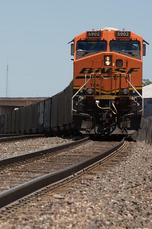 A southbound BNSF train in downtown Oklahoma CIty, OK.