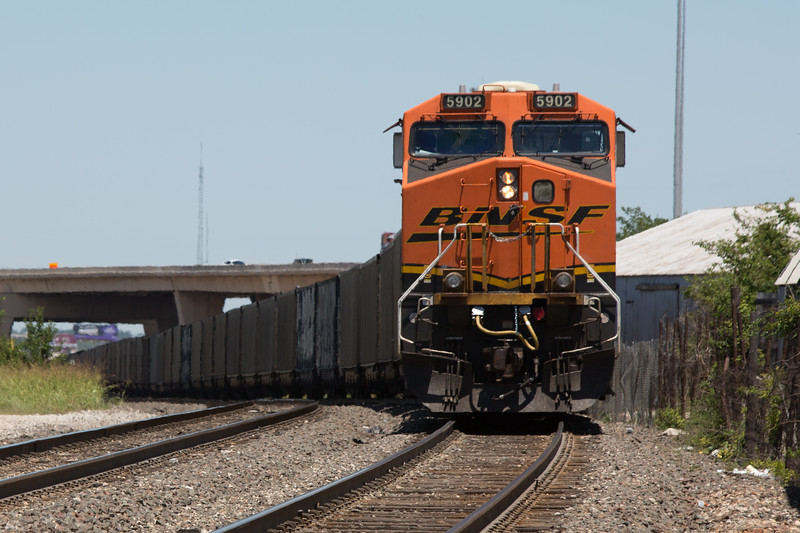 A southbound BNSF train in downtown Oklahoma CIty, OK.
