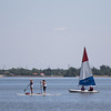 People on the water at Lake Hefner in northeast Oklahoma CIty.