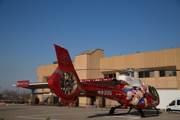 A helicopter at OU Medical Center located at 700 NE 13th St. in Oklahoma City.