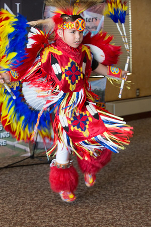 A boy dancing at the American Indian Chamber of Commerce's luncheon, held at Remingonton Park in Oklahoma City, OK.