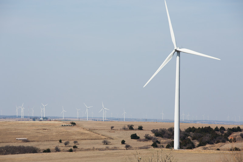 Wind turbines located on the western edge of Grady County near Minco, OK.