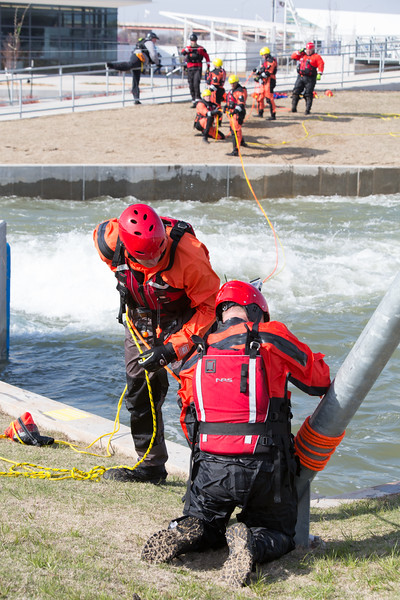 Students with Oklahoma State Universities Fire and Rescue school practice swift water rescue at Riversport Rapids located in the boathouse district in Oklahoma City.
