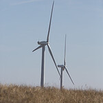 Wind turbines located on the western edge of Grady County near Minco, OK.