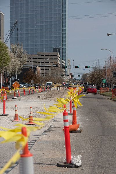 Road construction on Reno and Fred Jones Ave in Oklahoma City, OK.