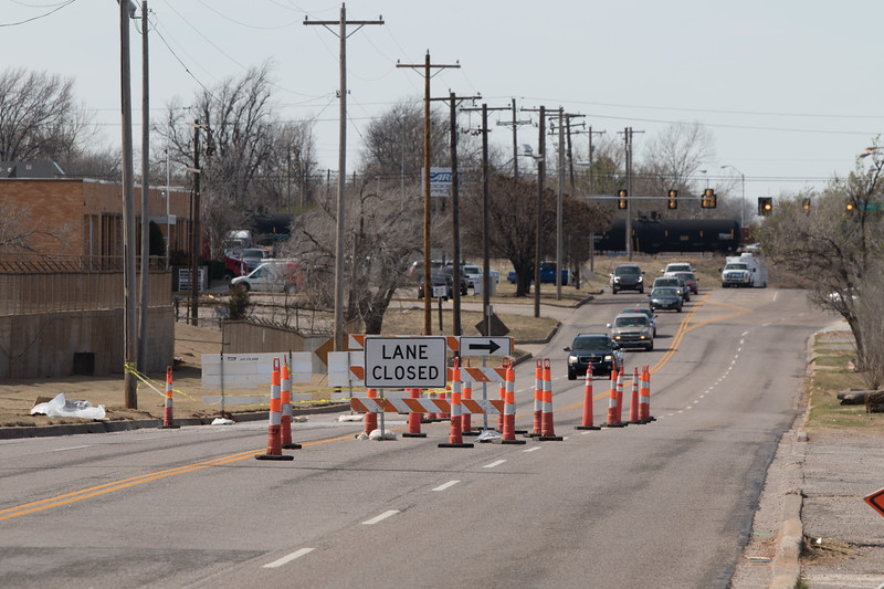 Road construction on NW 36th Street and Santa Fe Ave in Oklahoma City, OK.