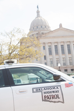 An Oklahoma State Highway Patrol card at the State Capitol in Oklahoma City.