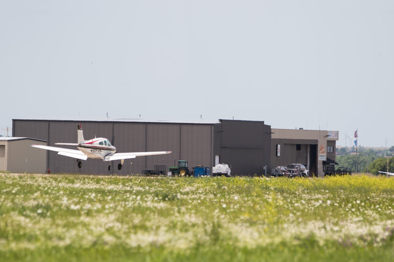 A plane lands at Sundance Air Park located at 13000 N Sara Road in Yukon, OK.