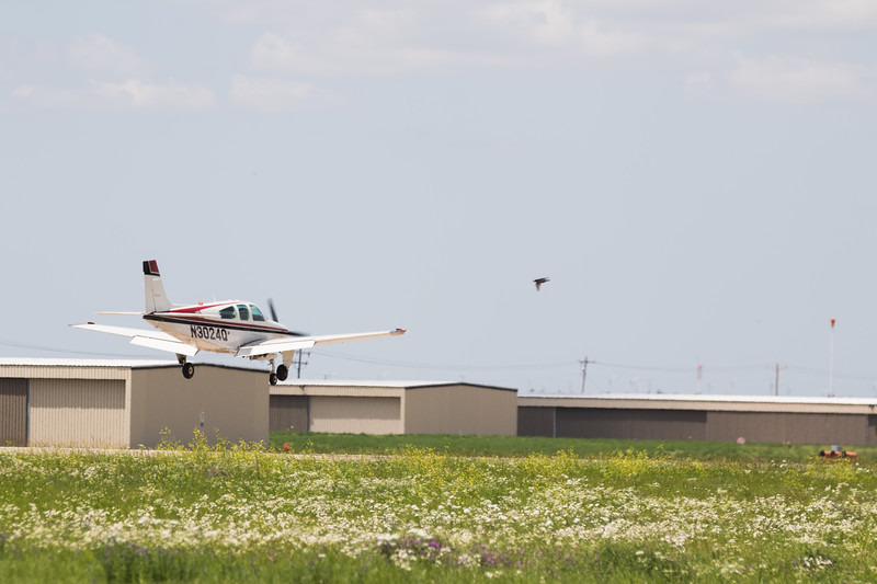 A plane lands at Sundance Air Park located at 13000 N Sara Road in Yukon, OK.