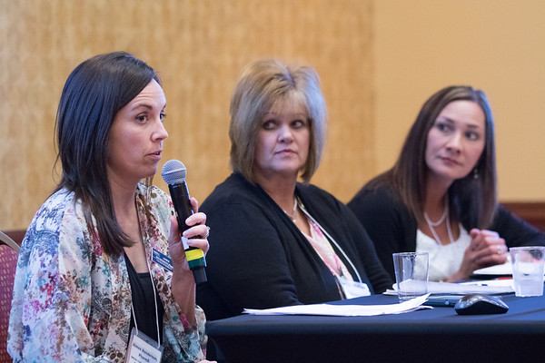 Pharmasist Aimee Henderson, Nurse Angie Lewis and Diatetion Adrianna Halestead participated in a panel discussion on health care coordination at the Rural Health Conferance held at the Embassy Suites in Norman, OK.