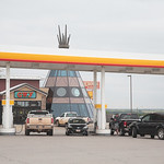 Traveler's fueling up at Cherokee Trading Post licated at Exit 108 on I-35 in Oklahoma.