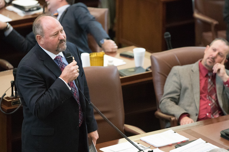Rep. Kevin Wallace, R-Wellston, house appropriations and budget chair, on the floor of the Oklahoma House of Repersenitives.