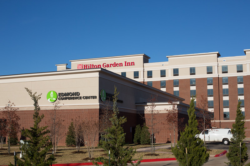 The Edmond Convention Center and Hilton Garden Inn are nearing completion at Sooner Rd and Covell Rd in Edmond, OK.