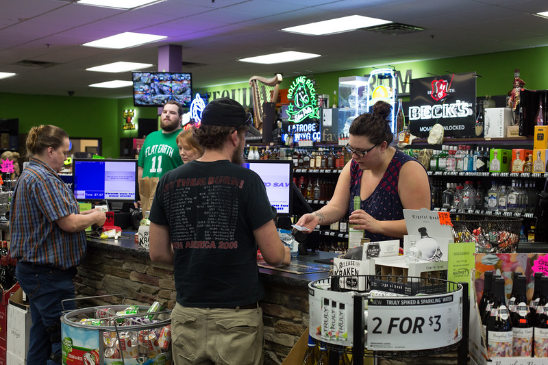 The checkout counter at Market Beverage Company located in Edmond, OK.