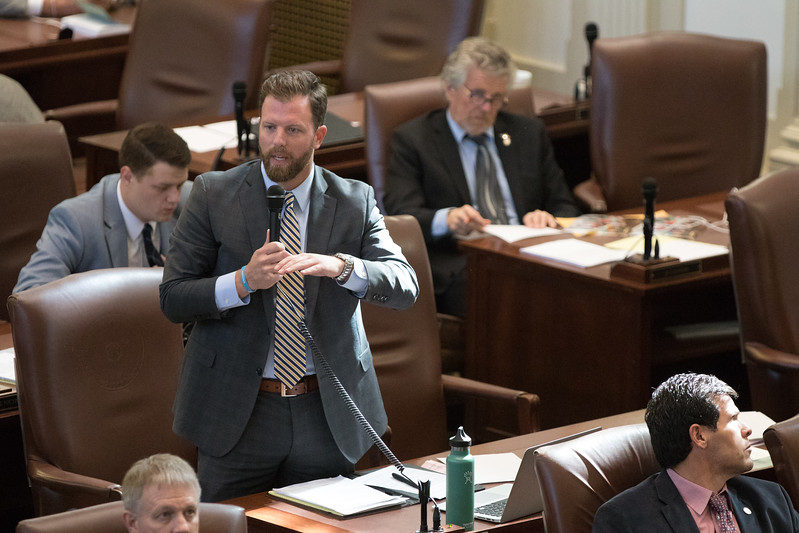 Rep. Jason Dunnington ask quetions about a proposed bill that would alter Oklahoma's gross production tax rebate program.