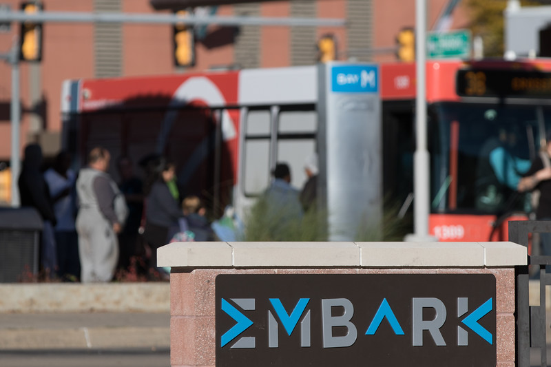 The Embark Bus station in downtown Oklahoma.