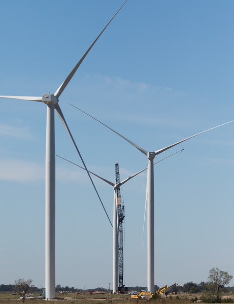 Newly built wind turbines located northwest of Crescent, OK.